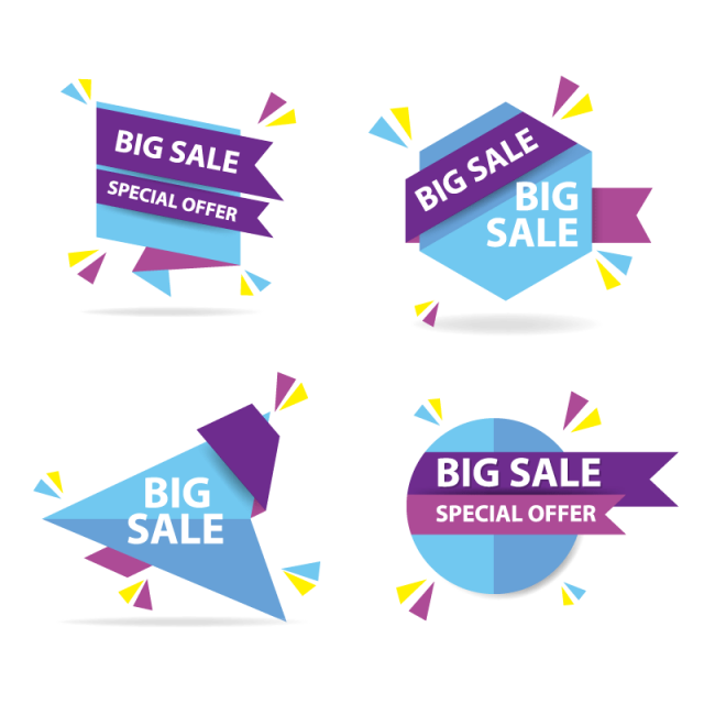 Colorful shopping banner template. Yearbook clipart sale flyer