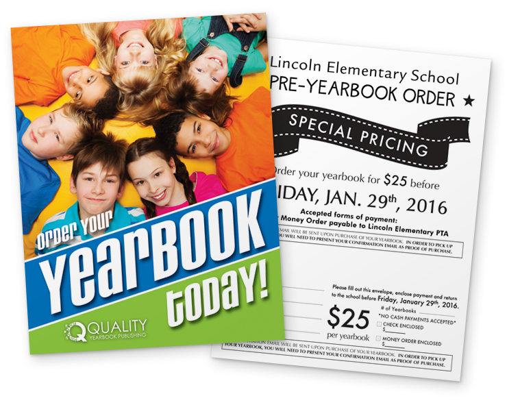 Marketing materials quality publishing. Yearbook clipart sale flyer