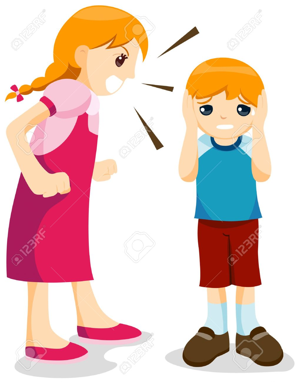 Girl yelling . Young clipart annoying sister