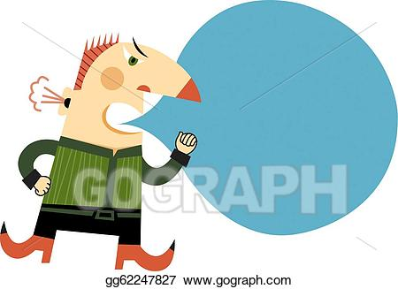 Yelling clipart angry speech. Stock illustration an man