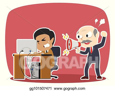 Yelling clipart employment law. Vector art boss to