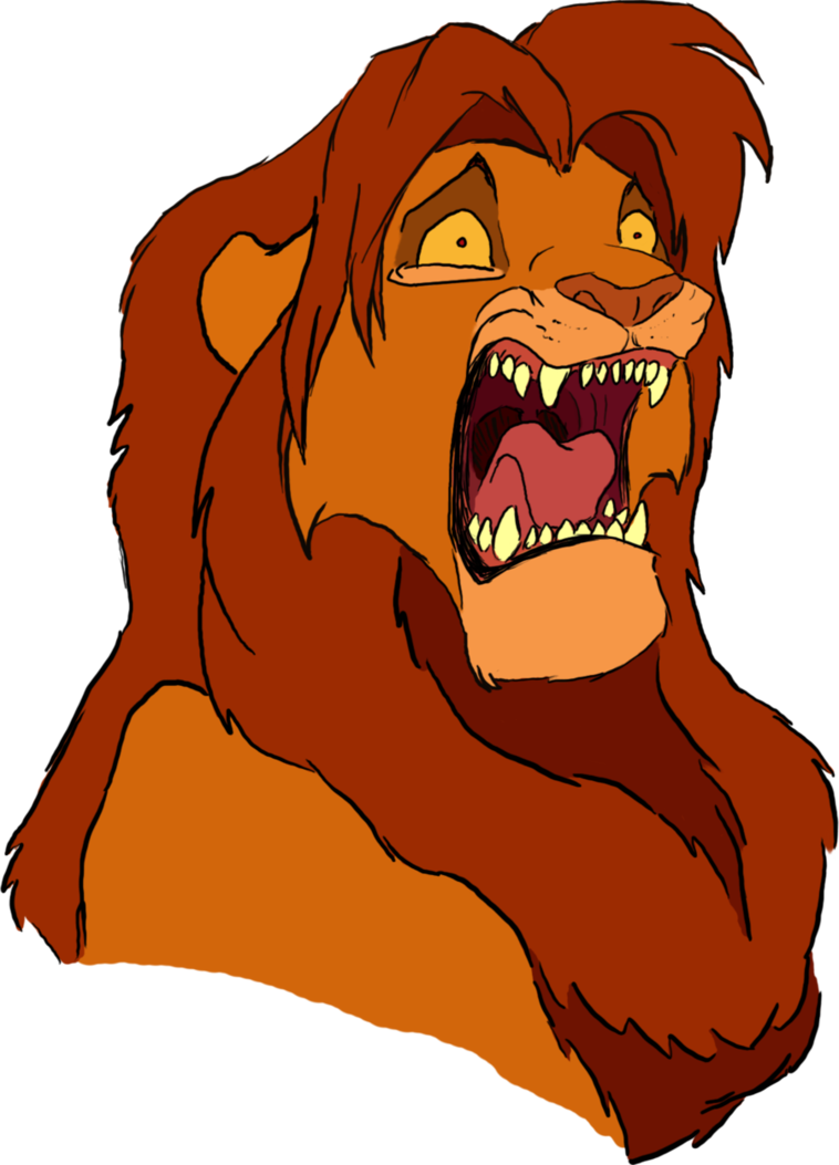 Simba head by polarliger. Yelling clipart heads up