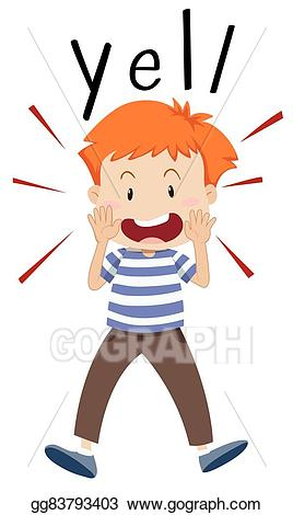 Vector art boy out. Yelling clipart kid scream