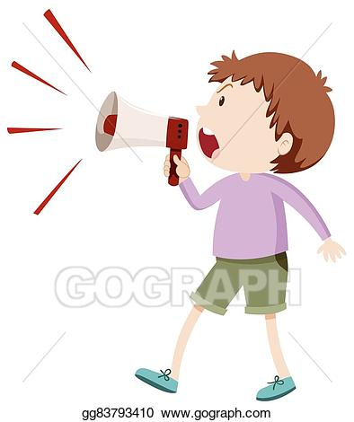 Yelling clipart loud boy. Vector illustration angry shouting