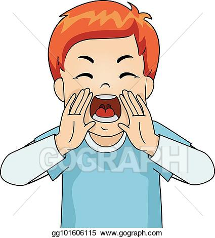 Yelling clipart rage. Eps vector kid boy
