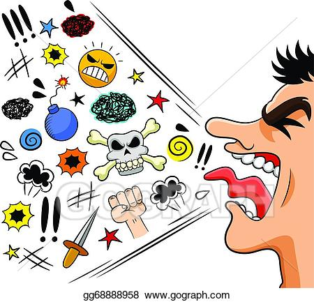 Eps vector cursing stock. Yelling clipart rude man