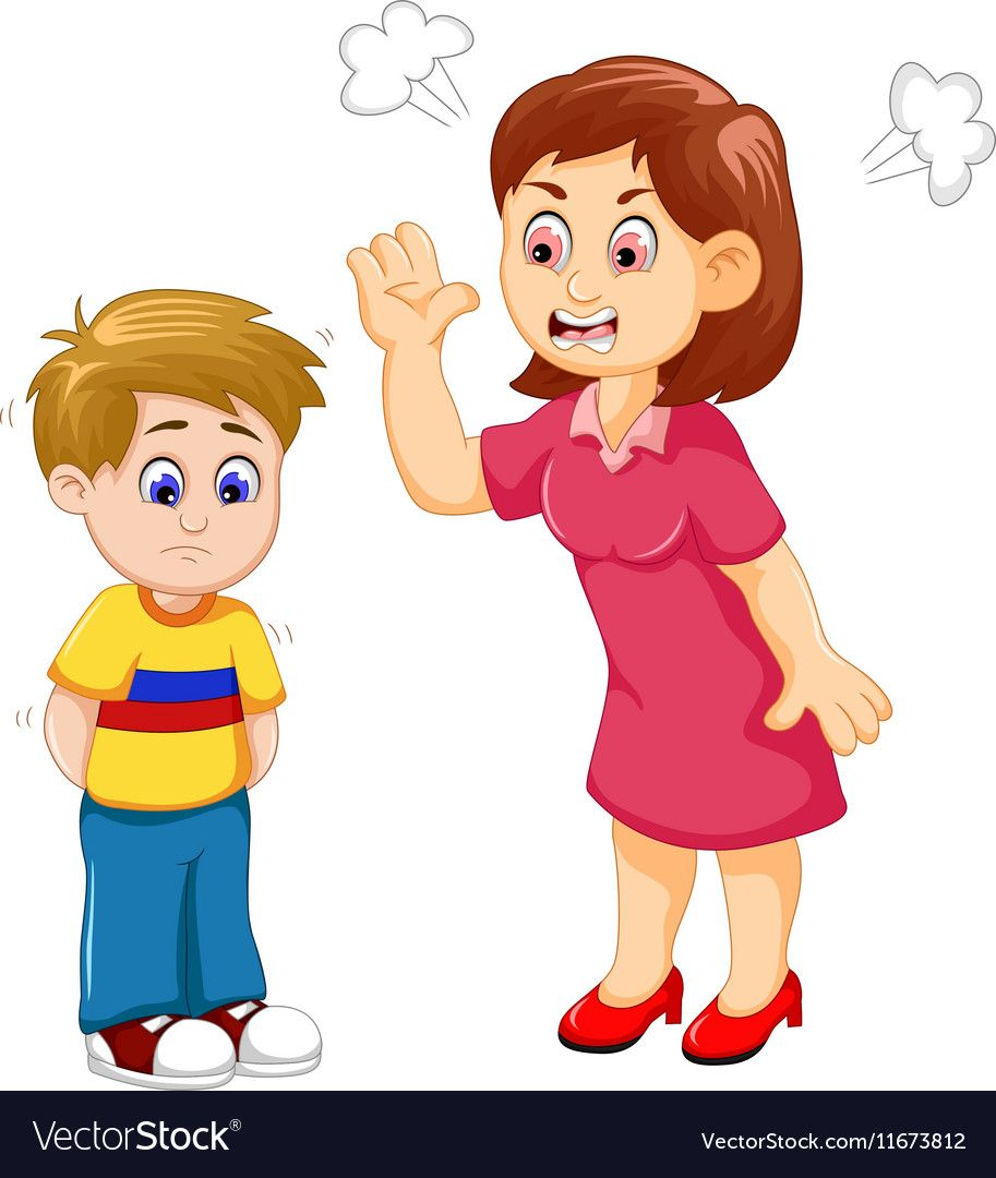 Cartoon mather scolding her. Yelling clipart scolded