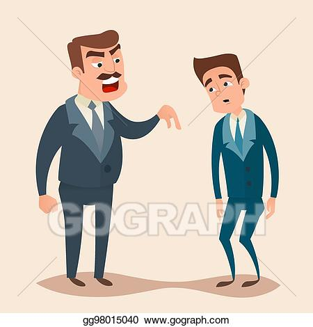 Yelling clipart supervisor employee. Eps vector angry boss
