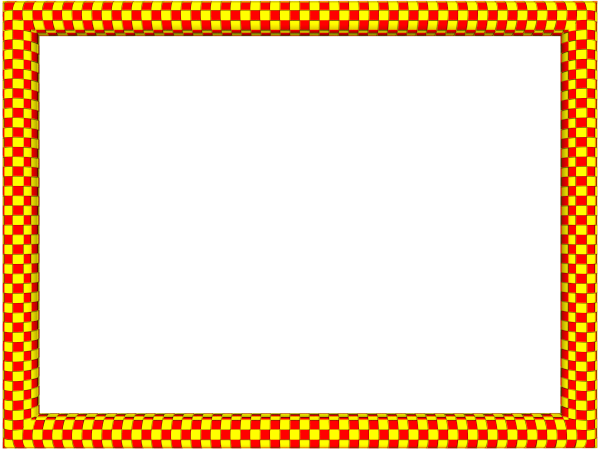 Yellow border png. Red funky checker rectangular