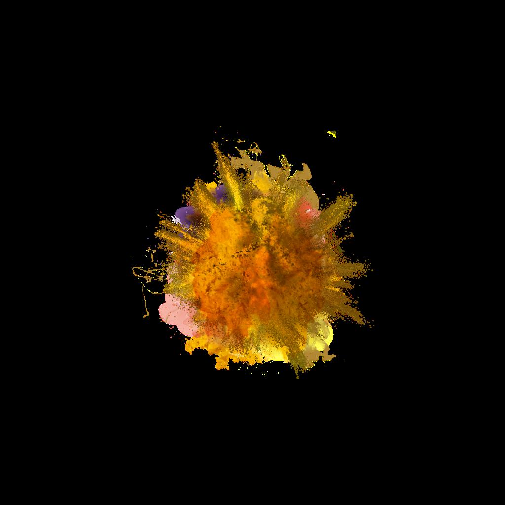 Magic colour burst crush. Yellow smoke png