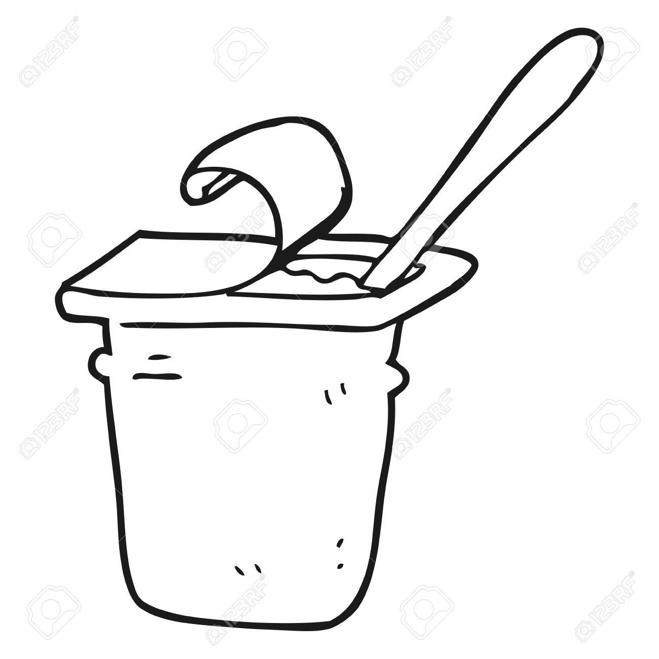 Black and white station. Yogurt clipart cartoon