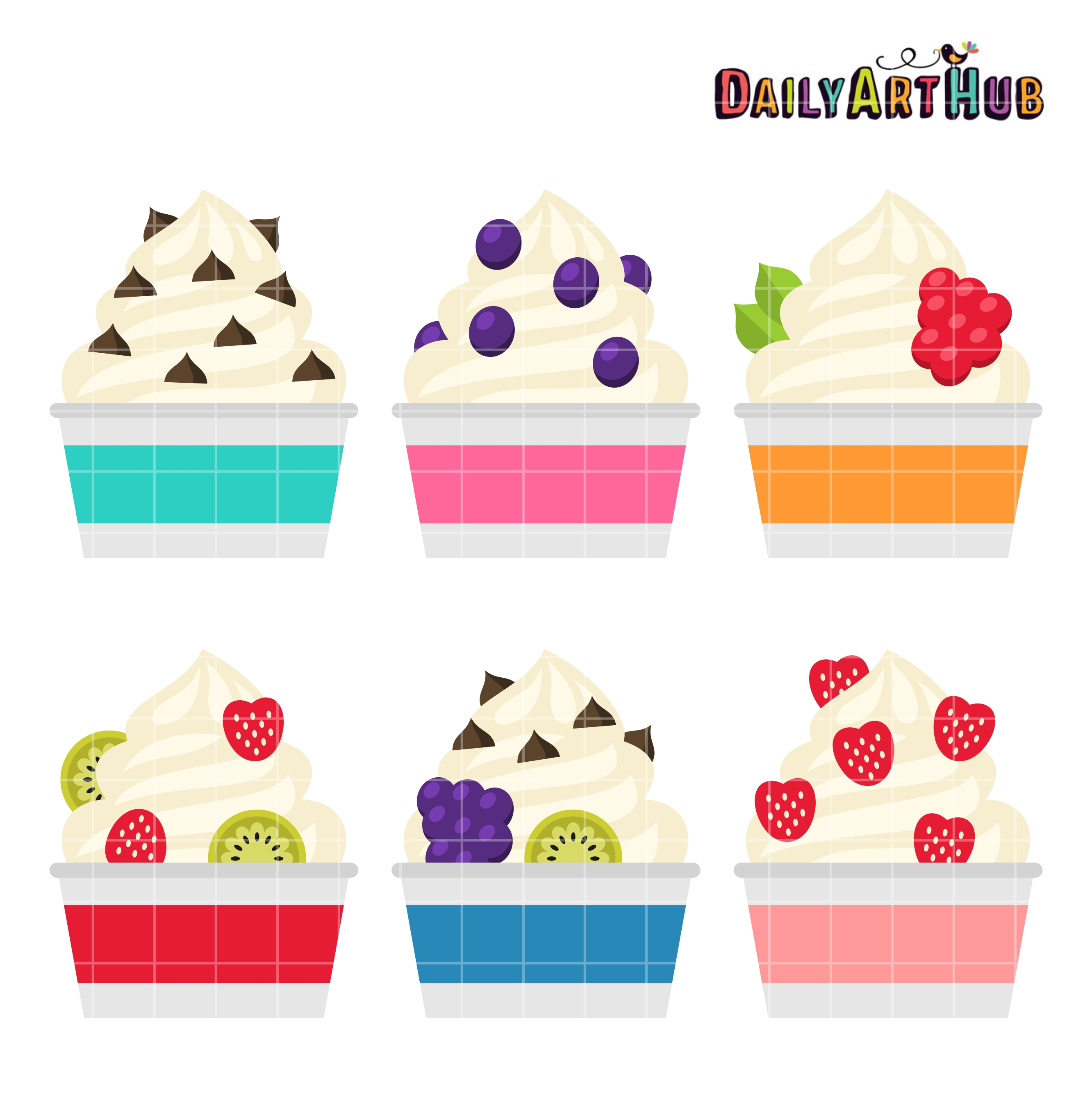 Clip art set . Yogurt clipart frozen yogurt