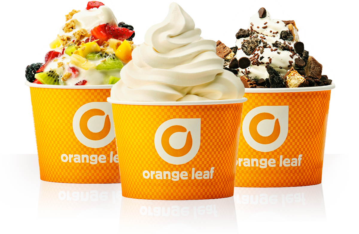 Orange leaf franchising frozen. Yogurt clipart low fat yogurt
