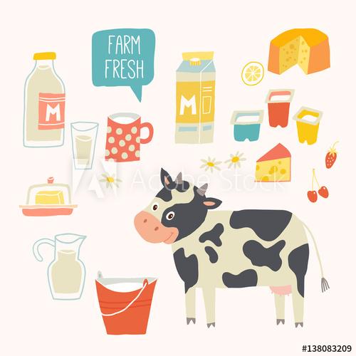 Yogurt clipart milk yogurt. Farm fresh set cow