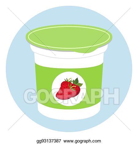 Yogurt clipart plastic food container. Vector stock healthy cream