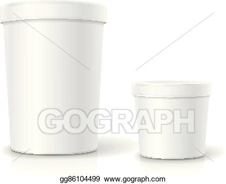 Eps illustration white tub. Yogurt clipart plastic food container