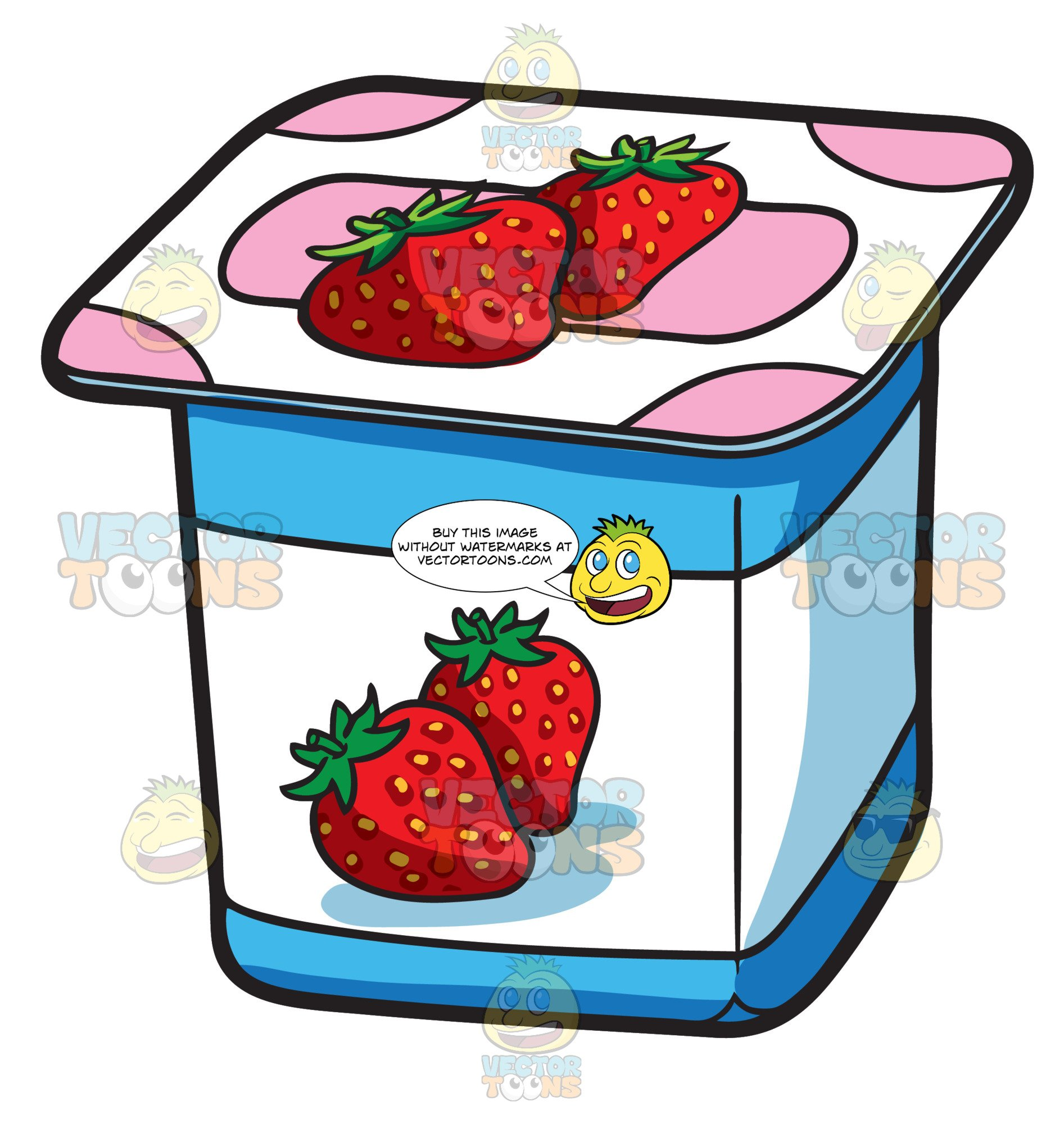 Yogurt clipart yogurt container. A one serving strawberry