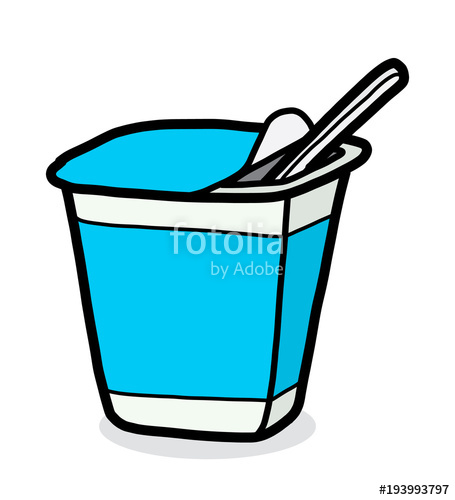 Yogurt clipart yogurt cup. Cartoon vector and illustration