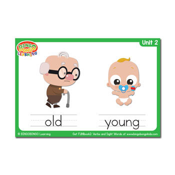 Adjectives set free flashcards. Young clipart adjective word