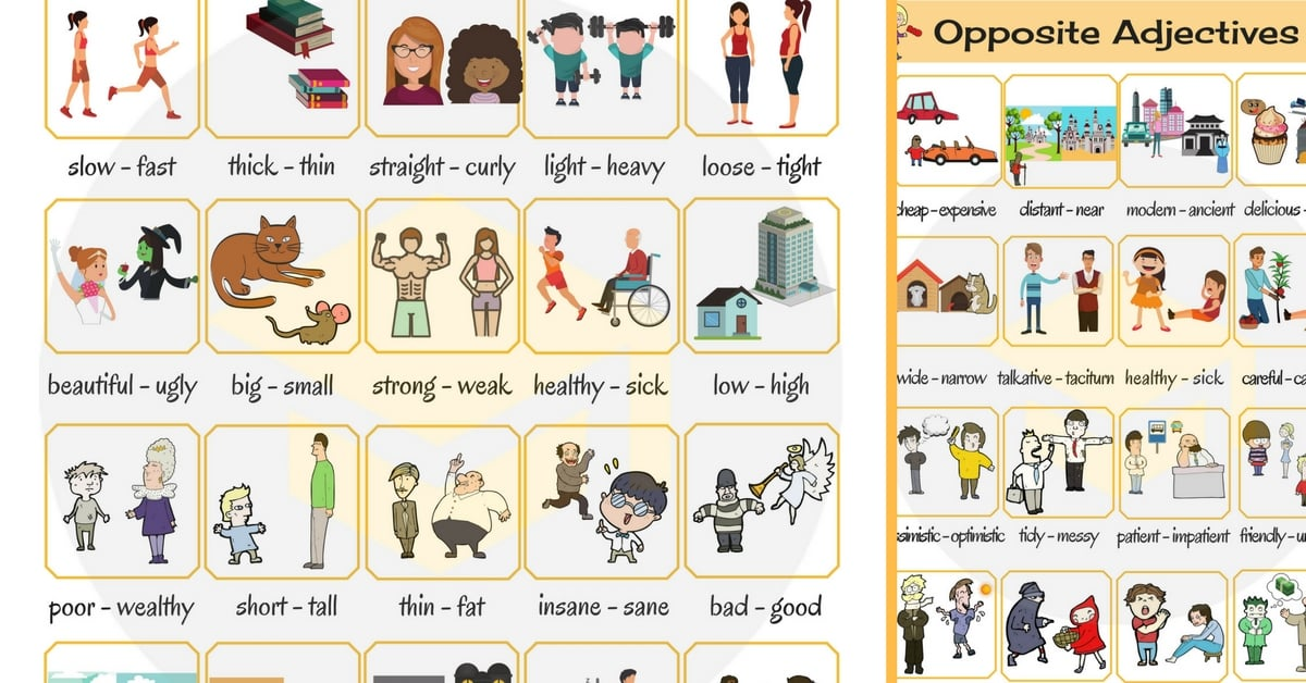 Young clipart adjective word. Opposite adjectives list of