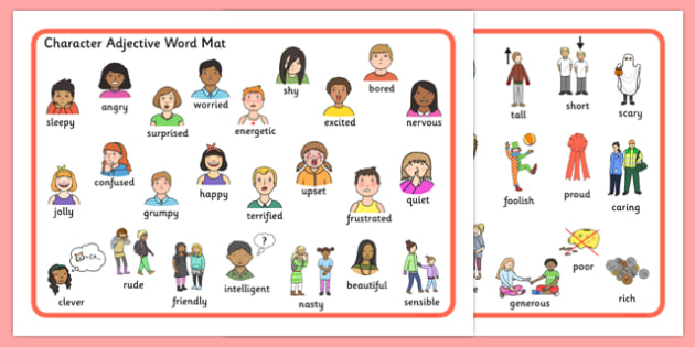 Young clipart adjective word. Character mat