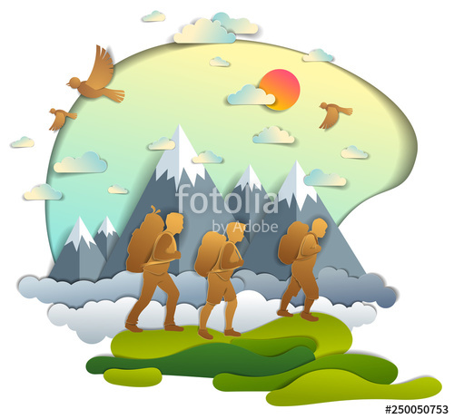 Active hiking to nature. Young clipart beautiful family