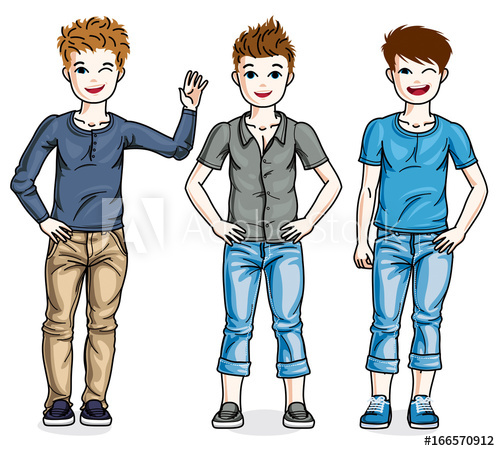 Young clipart beautiful family. Different teen boys cute