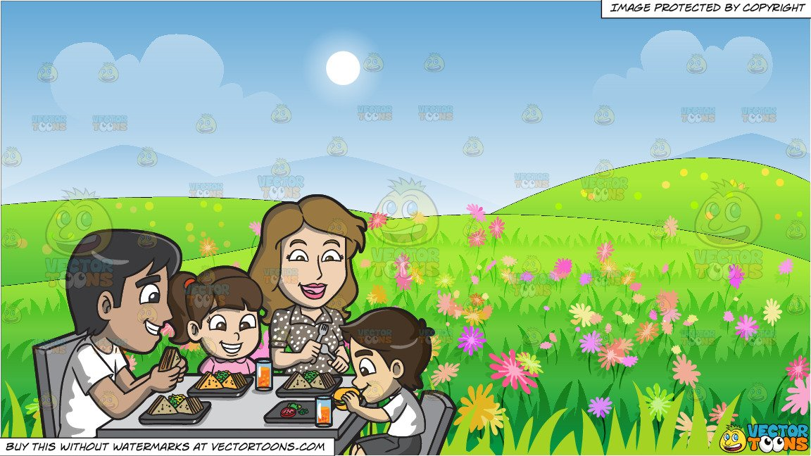 A enjoying some yummy. Young clipart beautiful family