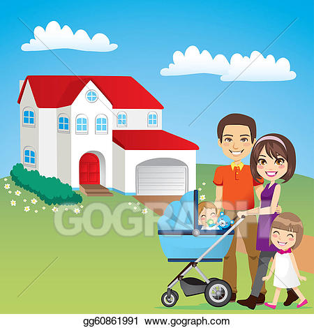 Eps illustration house vector. Young clipart beautiful family