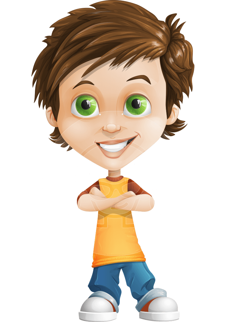 Young clipart boy portrait. Vector little cartoon character