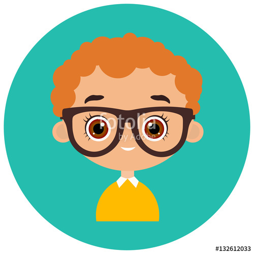 Faces avatar in circle. Young clipart boy portrait