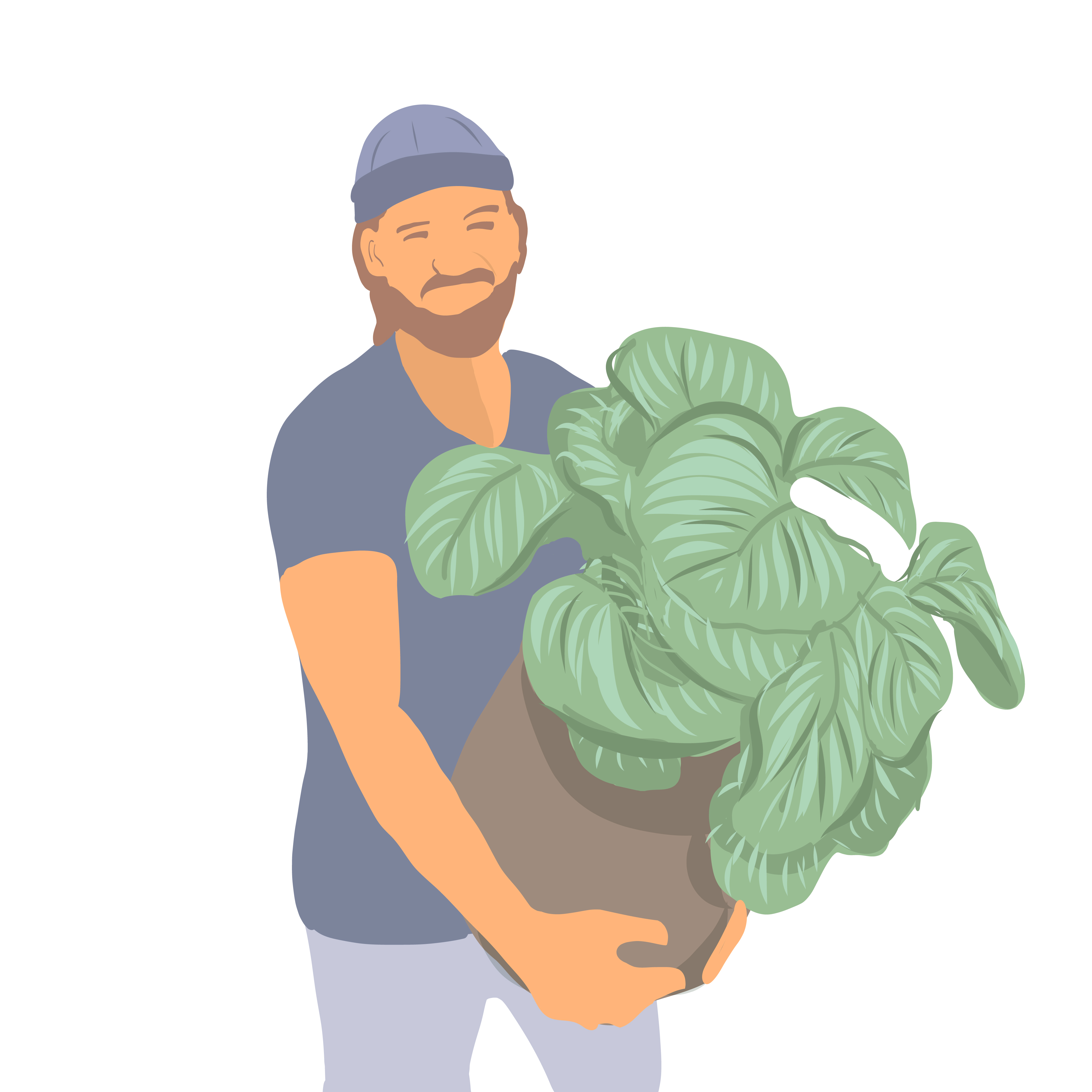 Young clipart boy portrait. Style with plants vector