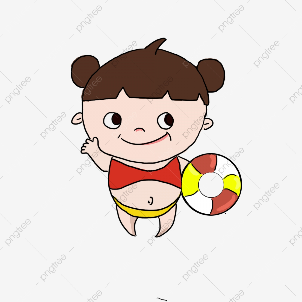 Swimming girl child and. Young clipart chil