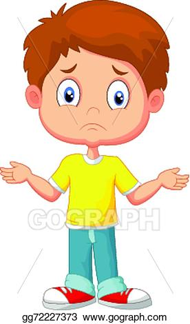 Young clipart chil. Vector illustration doubtful kid