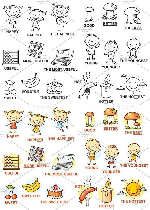 Young clipart degree adjective. Degrees of comparison child