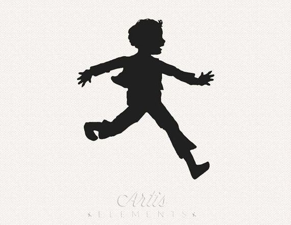Silhouette of running by. Young clipart excited boy