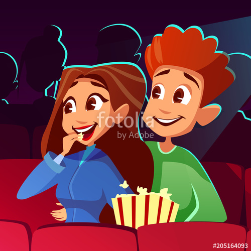 Young clipart excited boy. Couple in cinema vector