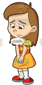 A girl feeling so. Young clipart female child