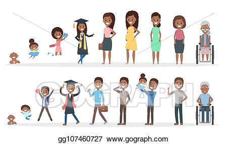 Vector in different ages. Young clipart human baby