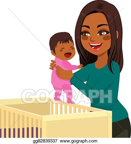 Vector stock crib clip. Young clipart mom baby