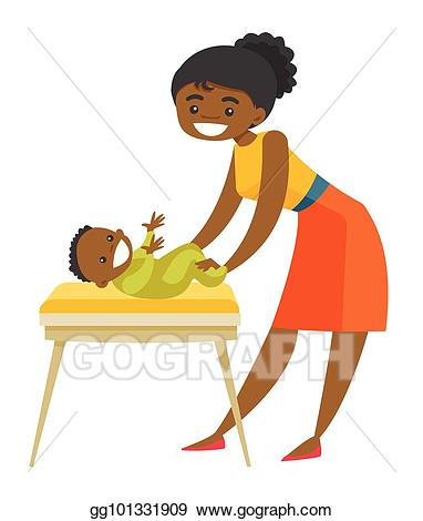 Eps illustration african american. Young clipart newborn baby