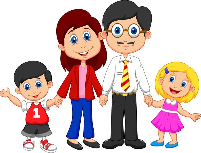 Young clipart nuclear family. Happy cartoon wall mural