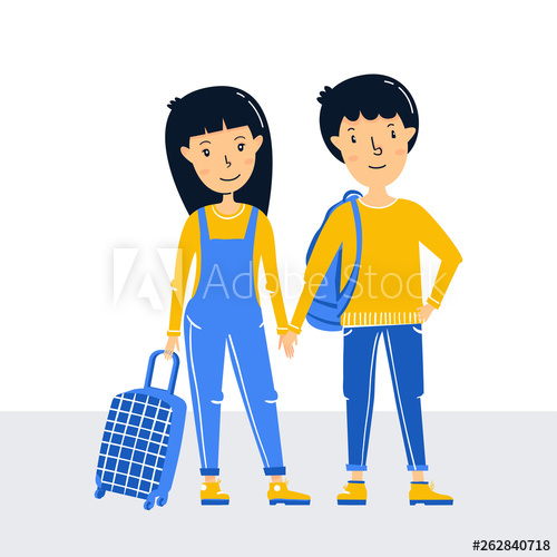 Little girl and traveler. Young clipart red hair boy