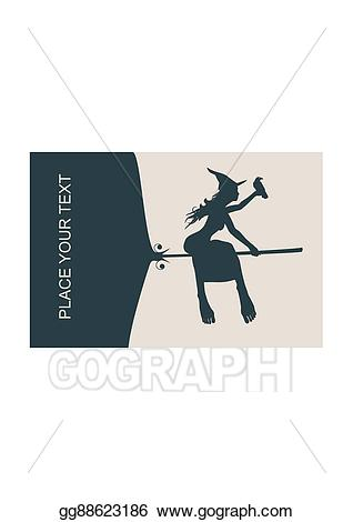 Vector art flying witch. Young clipart relative