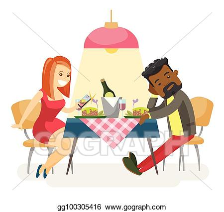 Vector art multiracial couple. Young clipart romantic date