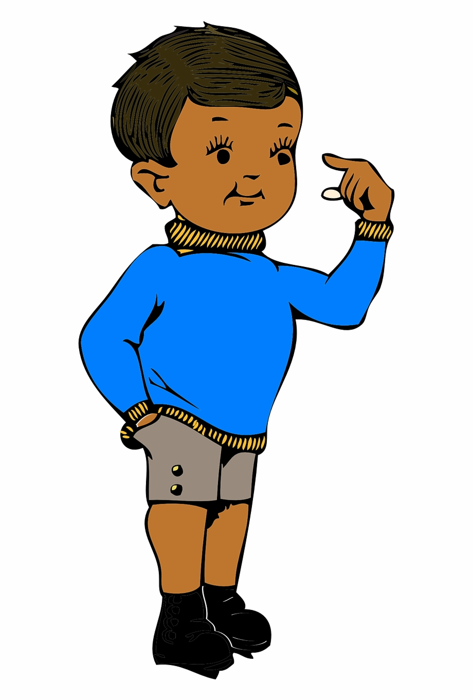 Boy stand show pointing. Young clipart self
