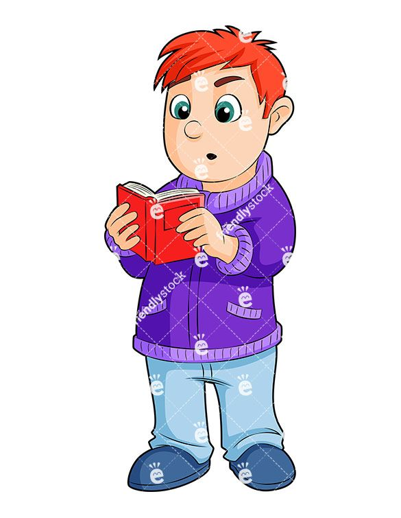 A reading book while. Young clipart small boy