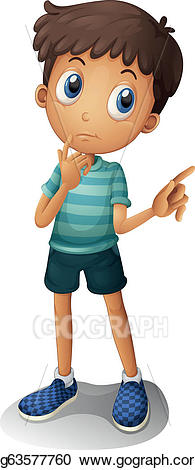 Young clipart thinking. Vector art a boy
