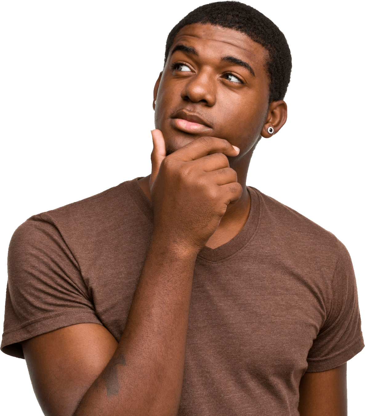 Young clipart thinking. Man looking left transparent