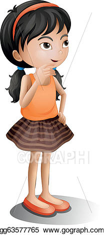 Vector art a girl. Young clipart thinking